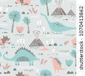 seamless pattern with cartoon... | Shutterstock .eps vector #1070413862