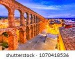 segovia  spain. roman aqueduct  ... | Shutterstock . vector #1070418536
