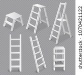 multi purpose ladders realistic ... | Shutterstock .eps vector #1070421122