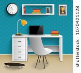 teenager workplace realistic... | Shutterstock .eps vector #1070421128