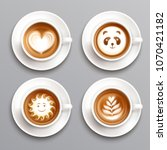 latte coffee art realistic set... | Shutterstock .eps vector #1070421182