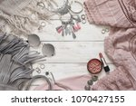 boho style dusty pink and grey... | Shutterstock . vector #1070427155