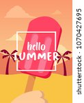 hello summer banner with ice... | Shutterstock .eps vector #1070427695