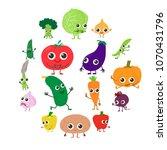 smiling vegetables icons set....   Shutterstock .eps vector #1070431796