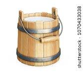 wooden bucket with milk... | Shutterstock . vector #1070433038
