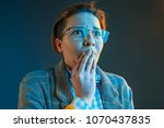 the anger and surprised woman.... | Shutterstock . vector #1070437835