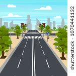 cartoon city crossroad traffic... | Shutterstock .eps vector #1070441132