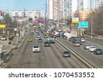 Small photo of Moscow, Russia, 04.11.2018. The traffic on the streets of Moscow. Profsoyuznaya Street, view from aboveground pedestrian crossing
