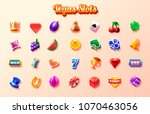 slots icon set. 2d game icon | Shutterstock .eps vector #1070463056