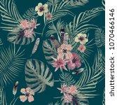 seamless watercolor exotic... | Shutterstock . vector #1070466146