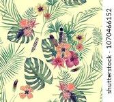 seamless watercolor exotic... | Shutterstock . vector #1070466152