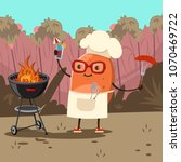 funny potato in a chef hat with ... | Shutterstock .eps vector #1070469722
