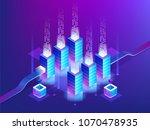 server room rack  blockchain... | Shutterstock .eps vector #1070478935