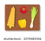 vegetables on wooden board ...   Shutterstock .eps vector #1070485346