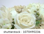 Stock photo artificial white roses flowers from fabric imitate natural 1070490236
