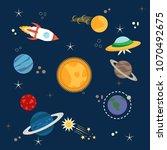 solar system  spaceship ... | Shutterstock .eps vector #1070492675