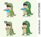 set of cartoon little kid... | Shutterstock .eps vector #1070492888