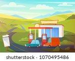 summer rural landscape scene... | Shutterstock .eps vector #1070495486