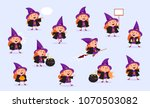 witch halloween girl in witch... | Shutterstock .eps vector #1070503082