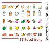 35 food icon set. colorful...   Shutterstock .eps vector #1070504612