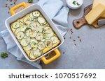 zucchini casserole with cheese... | Shutterstock . vector #1070517692