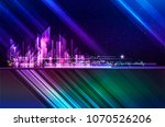 city skyline night cityscape... | Shutterstock . vector #1070526206