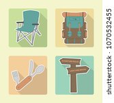 backpacking camping icons.... | Shutterstock .eps vector #1070532455