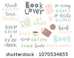 book lover. hand drawn quotes... | Shutterstock .eps vector #1070534855