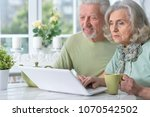 happy senior couple with laptop ... | Shutterstock . vector #1070542502