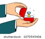 hands with precious diamond... | Shutterstock .eps vector #1070545406