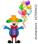clown with colorful party... | Shutterstock . vector #107054612