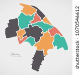 mainz map with boroughs and... | Shutterstock .eps vector #1070546612