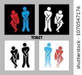 wc sign. vector funny boy and... | Shutterstock .eps vector #1070547176