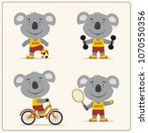 set of funny koala is engaged... | Shutterstock .eps vector #1070550356