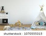 wall mock up. child's room...   Shutterstock . vector #1070555315