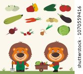 set of isolated vegetables ... | Shutterstock .eps vector #1070559416