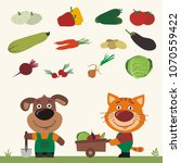 funny dog and cat farmers. set... | Shutterstock .eps vector #1070559422