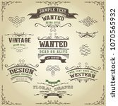 hand drawn western banners and... | Shutterstock .eps vector #1070565932