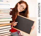 attractive beautiful woman geek ... | Shutterstock . vector #1070568578