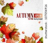autumn background. vector... | Shutterstock .eps vector #107056916