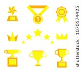 prize and award icon set. stock ... | Shutterstock .eps vector #1070574425