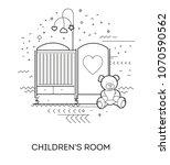children's room. modern flat... | Shutterstock .eps vector #1070590562