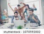 cheerful glad joyful positive... | Shutterstock . vector #1070592002
