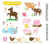 Stock vector learn to count from to illustrated poster educational set of cute farm animals cute vector 1070593682