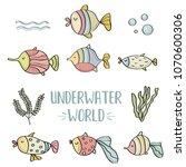 doodle fishes set  underwater... | Shutterstock .eps vector #1070600306