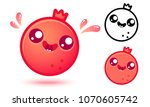 vector set icons pomegranate in ... | Shutterstock .eps vector #1070605742