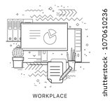 workplace. modern flat vector... | Shutterstock .eps vector #1070610236