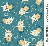 vector seamless pattern  cute... | Shutterstock .eps vector #1070611682