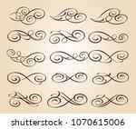 calligraphic elegant elements... | Shutterstock .eps vector #1070615006