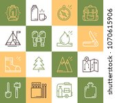 hiking and camping line icons...   Shutterstock .eps vector #1070615906